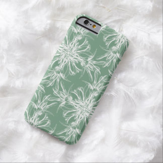 White Floral Damask on Dusty Laurel Green Barely There iPhone 6 Case