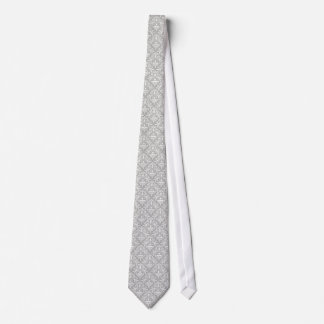 White Floral Damask Over Light Gray Background Tie
