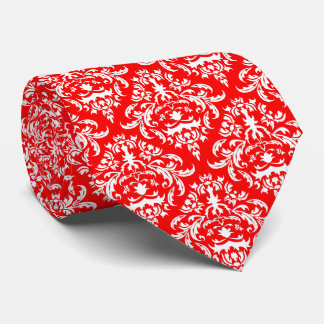 White Floral Damask Over Red Background Neck Tie