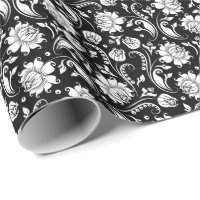 White Floral Damasks Black Background Wrapping Paper