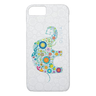 White Floral Damasks Colorful Floral Elephant iPhone 7 Case
