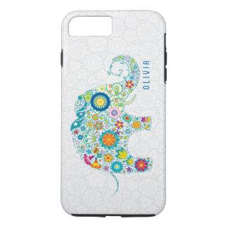 White Floral Damasks Colorful Floral Elephant iPhone 7 Plus Case