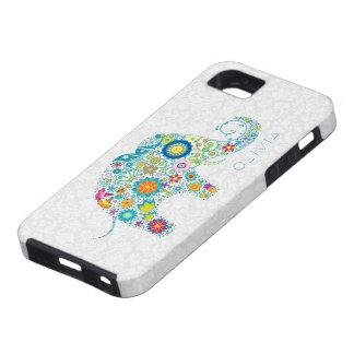 White Floral Damasks Colorful Floral Elephant iPhone SE/5/5s Case