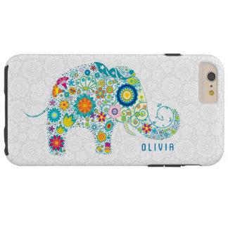 White Floral Damasks Colorful Floral Elephant Tough iPhone 6 Plus Case