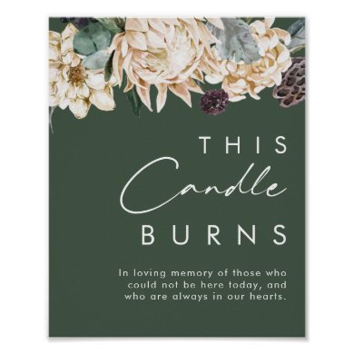 White Floral | Dark Green This Candle Burns Sign