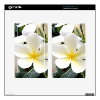 White Floral Decal For Kindle Fire