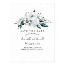 White Floral Elegant Save the Date Postcard