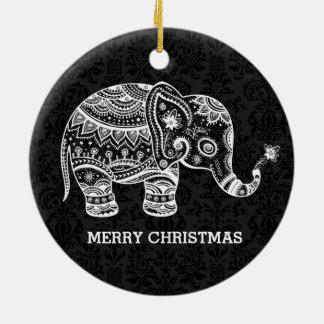 White Floral Elephant On Black Damasks Ceramic Ornament