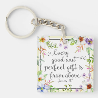 White Floral Every Good and Perfect Gift Keychain
