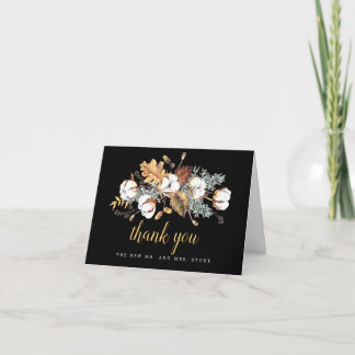 White Floral Fall Leaves Wedding Photo Thank You Card