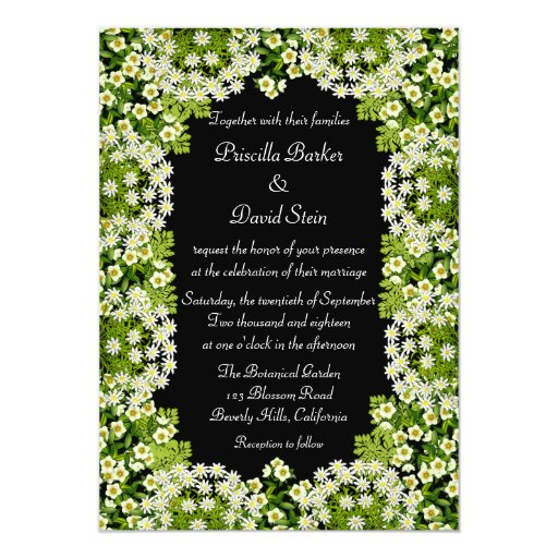 White Floral Garden Wedding Invitation