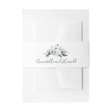 White Floral Greenery Wedding Invitation Belly Band