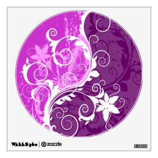 White Floral Grunge on Purple Circle Wall Sticker