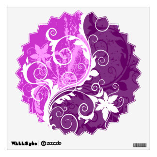 White Floral Grunge on Purple Starburst Wall Decal