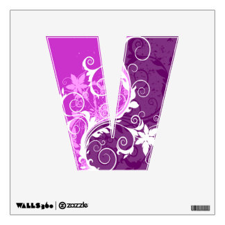 "White Floral Grunge on Purple ""V"" Wall Decal"