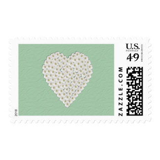 White Floral Heart Postage Stamp