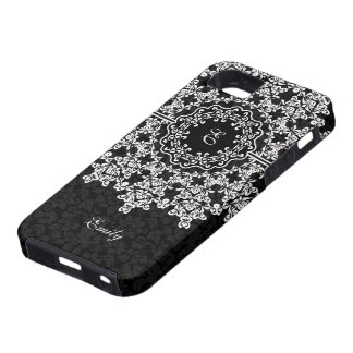 White Floral Lace Black Damasks Monogramed iPhone SE/5/5s Case