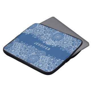 White Floral Lace Custom Navy Blue Background Laptop Sleeve