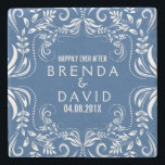 """White Floral Lace Frame Custom Background Stone Coaster<br><div class=""""desc"""">Elegant white floral lace swirls frame over custom blue background wedding memento. Change background to any color you like right here on the website. If you need any help customizing any of my designs,  contact ArtOnWear designer. Free text formatting with live help available by request.</div>"""