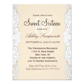 White Floral Lace on Peachy Beige 4.25x5.5 Paper Invitation Card
