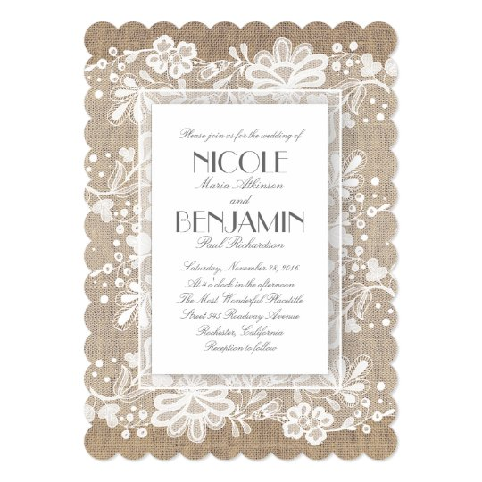 Rustic White Floral Lace Wedding Invitation with Burlap Background