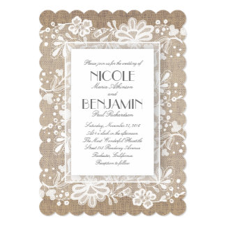 White Floral Lace Rustic Wedding Invitation