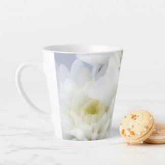 White Floral Latte Mug