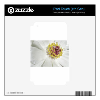 White Floral Macro Close-Up Decal For iPod Touch 4G