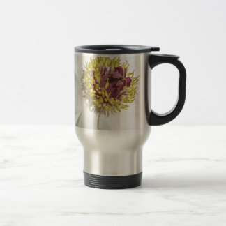 White Floral Macro Close-Up Travel Mug