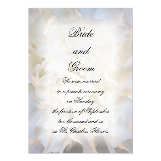 White Floral Marriage / Elopement Announcement