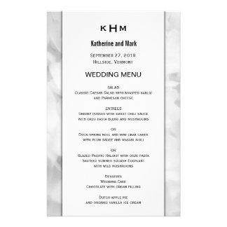 White Floral Monogrammed Custom Wedding Menu