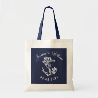 White Floral Nautical Anchor On Blue Tote Bag