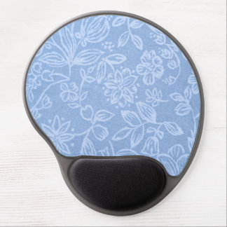 White Floral on Blue Gel Mouse Pad