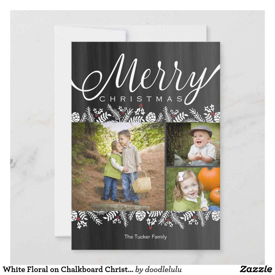 White Floral on Chalkboard Christmas Photo Card