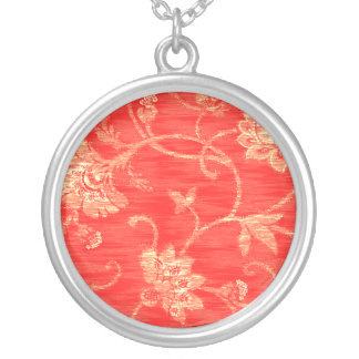 White Floral on Red Sterling Silver Necklace