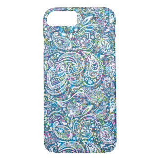 White Floral Paisley And Colorful Background iPhone 7 Case