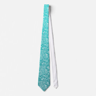 White Floral Paisley Over Turquoise Gradient Tie