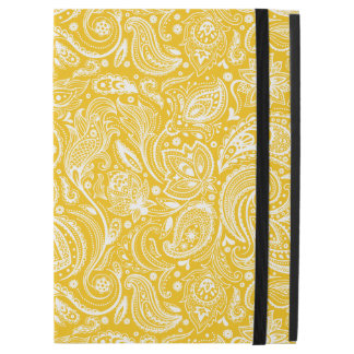 """White Floral Paisley Pattern On Yellow Background iPad Pro 12.9"""" Case"""