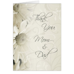 White Floral Parents  Wedding Day Thank You Card at Zazzle