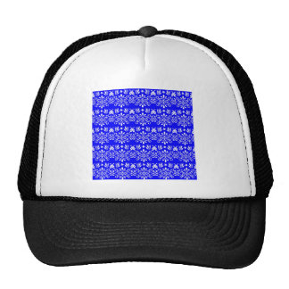 White Floral Pattern on Blue Hats