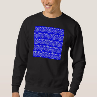 White Floral Pattern on Blue Sweatshirt