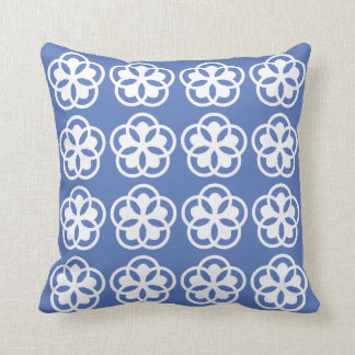 white floral pattern on light blue pillow