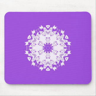 White floral pattern on purple kaleidoscope design mouse pad