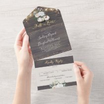 White Floral Pumpkin Rustic Fall Wedding All In One Invitation