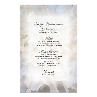White Floral Quinceañera Menu Stationery