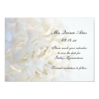 "White Floral Quinceañera Save the Date 5"" X 7"" Invitation Card"