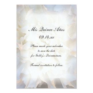 White Floral Quinceañera Save the Date 5x7 Paper Invitation Card