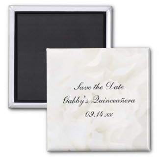 White Floral Quinceañera Save the Date Magnet