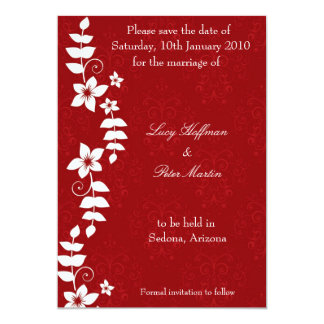 White floral red save the date card personalized invitation