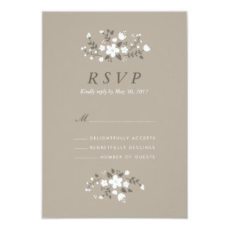 "White Floral Rustic Stylish Wedding RSVP Card 3.5"" X 5"" Invitation Card"